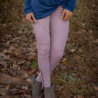 Dusty Pink Moto Jeggings