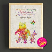 Winnie the Pooh Watercolor Art Print Disney Quote Poster House Wear Wall Art Decor Gift Linen Print - Buy 2 Get FREE - 253s2g