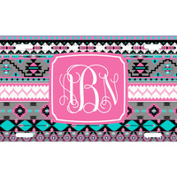 Custom Personalized License Plate Car Tag Pink Aztec Tribal Vine Monogram Sorority 16th Birthday Girls Gift Aluminum Front Car Plate LP-1014