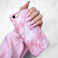 Pink Marble Pattern iPhone6s Phone Case Simple iPhone 7Plus Scrub Hard Shell