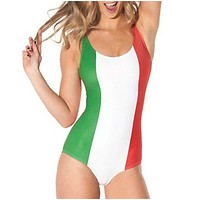 Summer New Fashion National Flag Contrast Color Vest One Piece Bikini Swimsuit