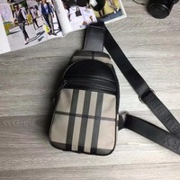 BURBERRY MEN'S LEATHER CHEST BAG CROSS BODY BAG