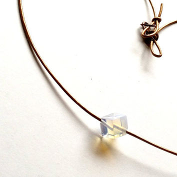 On Sale Minimalist leather necklace, Square Moonstone Gemstone and Bronze Leather Necklace, Free Shipping, Handmade Choker,