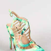 Abstract Buckle Metallic Caged Pointy Toe Pump Color: Green, Size: 7.5