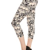 Women's Regular White Skull Pattern Print Capri Leggings - White Black