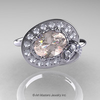 Art Nouveau 14K White Gold 1.0 Ct Oval Morganite Diamond Nature Inspired Engagement Ring R296A-14KWGDMO