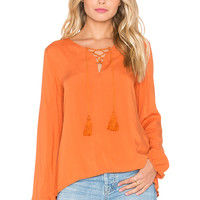 GLAMOROUS Lace Up Long Sleeve Top in Rust