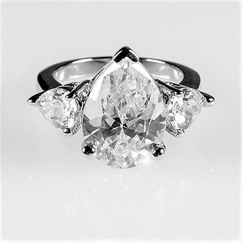 Delilah 6ct Pear Three Stone Engagement Ring | 7.5ct