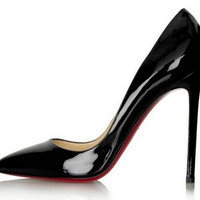 Glossy Red Bottom Pointed Toe Heels - Black
