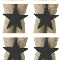 Park Design 975-75 Iron Star Napkin Rings Set of 6 with 6-Pack of Tea Candles