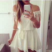Lace New Arrival Off Shoulder Strapless Stylish High Waist Fashion One Piece Dress = 5826238273