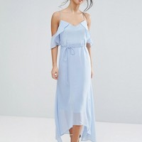 True Decadence Petite Frill Cold Shoulder Cami Maxi Dress With Ruffle Hem Detail at asos.com