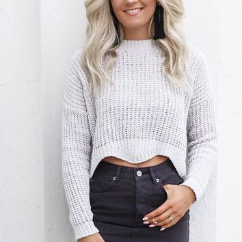 My Year Cloud Chenille Scallop Crop Sweater