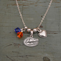 Florida Gator Crystal Bead Duo & Heart w/Logo Charms Necklace