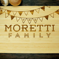 Personalized Cutting Board (Pictured in Natural), approx. 12 x 16 inches, Flag Banner Monogram - Wedding gift, Housewarming gift, Chef Gift