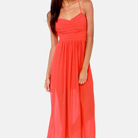 Pleats Don't Leave Coral Red Maxi Dress