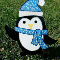 Penguin yard decoration, Winter penguin yard art, Christmas Penguin, Holiday Penguin outdoor yard stake