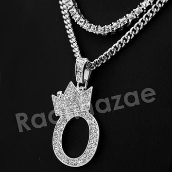 Crown O Initial Pendant Necklace Set.