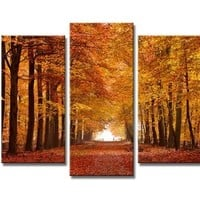 Wieco Art - Autumn Forest Modern 5 Panels Stretched and Framed Giclee Canvas Prints Landscape Artwork Pictures Paintings on Canvas Wall Art for Living Room Bedroom Home Office Decorations