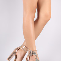 Patent Trim Lucite Buckle Ankle Strap Chunky Heel