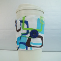 Blue geometric print Cup Cozy sleeve made  with vintage button and cotton fabric