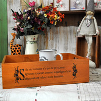 Home Decor Weathered Tray Alphabet Wooden Gifts Brush [6256383430]