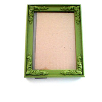 Green Picture Frame,Green Painted Frame,5x7 Picture Frame,Whimsical Frame,Bright Green Frame,Upcycled Table Frame,Baroque Wall Frame
