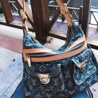 Kuyou Lv Louis Vuitton Fashion Women Men Gb29611 Vintage M95050 Denim Single Shoulder Bag