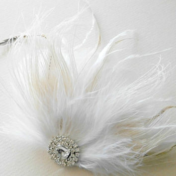 Ivory White Bridal Head Piece Champagne Peacock by parfaitplumes