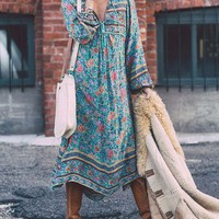 Bohemian Deep V Neck Floral Print Tassel Lace Up Maxi Dress