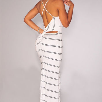 White Striped Halter Backless Cut-Out Back Bodycon Maxi Dress