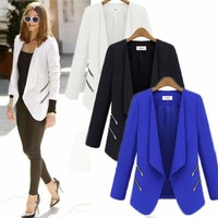 Women Casual Slim Solid Blazer Suit Lapel Long Sleeve Zip Up Jacket Coat Outwear
