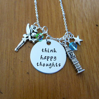 """Peter Pan Inspired Necklace. Peter Pan """"Think Happy Thoughts"""". Swarovski crystals, for women or girls. Hand Stamped. Peter Pan Necklace."""