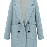 Blue Wool Double Breasted Coat with Pockets - Choies.com