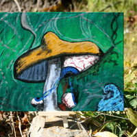 Painting Original Acrylic Psychedelic Mushroom with by ByTheSeals