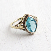 Vintage 9k Yellow Gold Filigree Aquamarine Blue Marquise Stone Ring - Antique Size 5 1/4 Art Deco 1920s Flower Ring