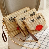 Beach bags Embroidery Straw Weave