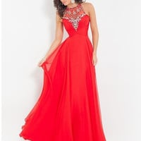 Red Prom Dress 2015 Long High Neck Beading party dress Chiffon A-line Formal dress cheap graduation dresses = 1931819524