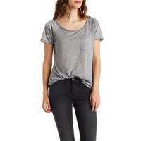 Marled Knit Pocket Tee