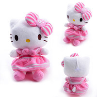 Navy Style Hello Kitty Plush Pink Bowknot Dress Kitty Plush Girls Home Doll Toy for