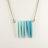 Nabi necklace ombre mint blue turquoise - Tribal spikes necklace - Primitive horn necklace - Ombre jewelry