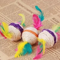 2Pcs Funny Hot New Style Dog Cat Kitten Toys Sisal Play Chewing Catch Fetch Toys Colorful Ball With Feathers = 1929777924
