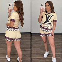 LV Louis vuitton women's summer new fashion short-sleeved shorts two-piece suit