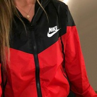 "Women ""NIKE"" Hooded Zip Cardigan Windbreaker Sweatshirt Jacket Coat"