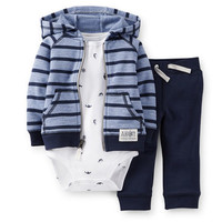 3-Piece French Terry Cardigan & Pant Set
