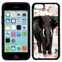 RCGrafix Premium LEATHER BACK Direct UV Vibrant Print Apple iPhone 5C Case - Indian Elephant On Vintage Floral UNIQUE Designer Leather Back TPU Case For Apple iPhone 5C - Great Case Protection - Fits All Carriers - Satisfaction Guaranteed