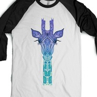 Purple Mint Giraffe Ombre-Unisex White/Black T-Shirt