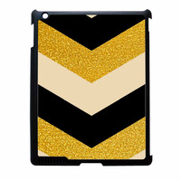 Chevron Classy Black And Gold Printed iPad 3 Case