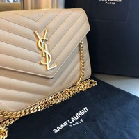 PEAPDC0 Saint Laurent YSL Powder Nude Beige Wallet on Chain Crossbody Clutch Bag