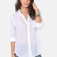 Collar-ly Pursuits Long Sleeve White Top